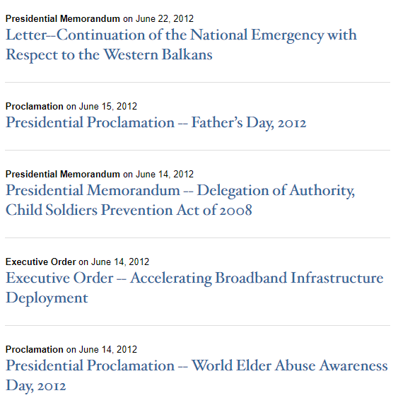 presidential actions 2012